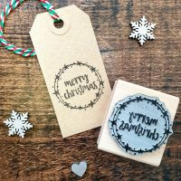 Merry Christmas Star Wreath Rubber Stamp