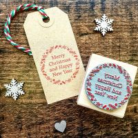 Merry Christmas Happy New Year Wreath Rubber Stamp