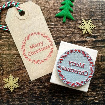 *****NEW FOR XMAS 2019***** - Merry Christmas Wreath Rubber Stamp