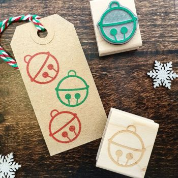 Mini Christmas Bell Rubber Stamp