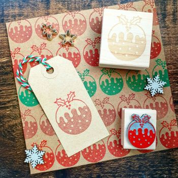 Mini Christmas Pudding Rubber Stamp