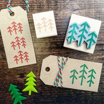 Mini Christmas Tall Trees Rubber Stamp