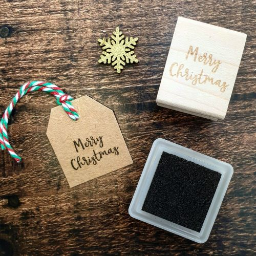 *****NEW FOR XMAS 2019 - Mini Merry Christmas Script Font Rubber Stamp PRE-