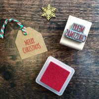 Mini Merry Christmas Skinny Font Rubber Stamp