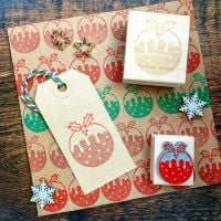Small Christmas Pudding Rubber Stamp