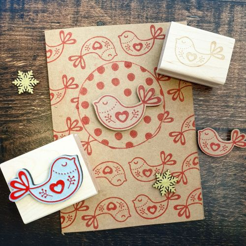 *****NEW FOR XMAS 2019 - Small Christmas Scandi Bird Rubber Stamp PRE-ORDER