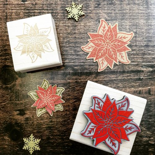 *****NEW FOR XMAS 2019 - Small Poinsettia Rubber Stamp PRE-ORDER PRICE 20%