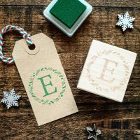 Personalised Initial Christmas Wreath Rubber Stamp