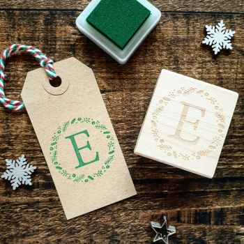 ******NEW FOR XMAS 2019***** - Personalised Initial Christmas Wreath Rubber Stamp