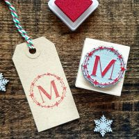 Personalised Initial Christmas Star Wreath Rubber Stamp