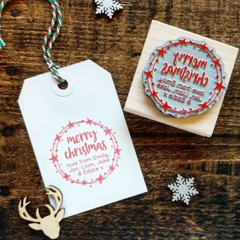 ******NEW FOR XMAS 2019***** - Personalised Merry Christmas Star Wreath Rubber Stamp