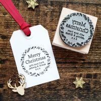 Personalised Merry Christmas Wreath Rubber Stamp