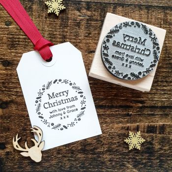 ******NEW FOR XMAS 2019***** - Personalised Merry Christmas Wreath Rubber Stamp