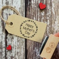 Happy Mother's Day Wreath Rubber Stamp