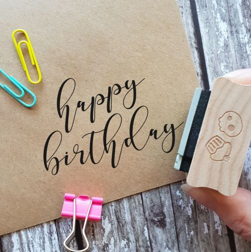 ***NEW FOR 2020*** Happy Birthday Large Calligraphy Rubber Stamp