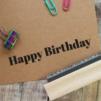 Happy Birthday Contemporary Rubber Stamp