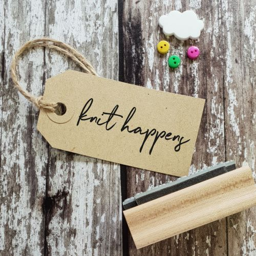 Knit Happens Hand Written Rubber Stamp