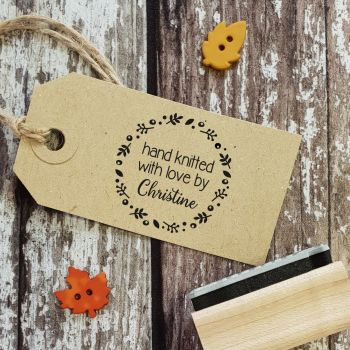 Personalised Hand Knitted By Floral Wreath Rubber Stamp
