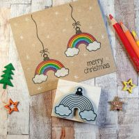 ***NEW FOR 2020*** - Christmas Rainbow Bauble Rubber Stamp