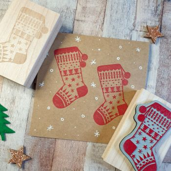 ***NEW FOR 2020*** Christmas Pattern Stocking Rubber Stamp