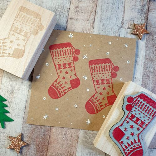 Christmas Pattern Stocking Rubber Stamp
