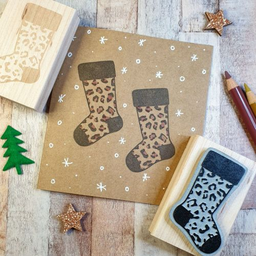 ***NEW FOR 2020*** Christmas Leopard Print Pattern Stocking Rubber Stamp