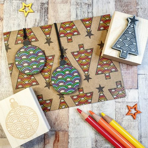 ***NEW FOR 2020*** - Christmas Rainbow Pattern Bauble Rubber Stamp