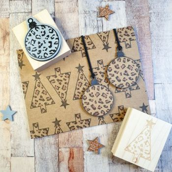 ***NEW FOR 2020*** - Christmas Animal Print Tree Rubber Stamp