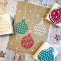 ***NEW FOR 2020*** - Christmas Chevron Bauble Rubber Stamp