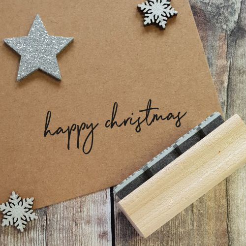 ***NEW FOR 2020*** - Happy Christmas Handwritten Rubber Stamp