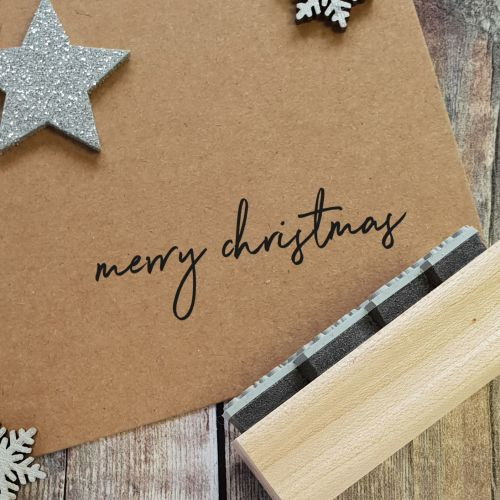 ***NEW FOR 2020*** - Merry Christmas Handwritten Rubber Stamp