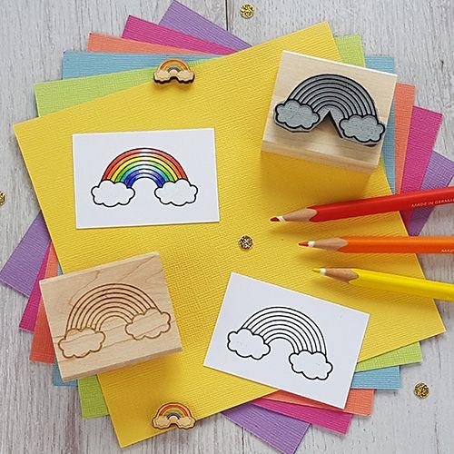 Rainbow Mini Rubber Stamp