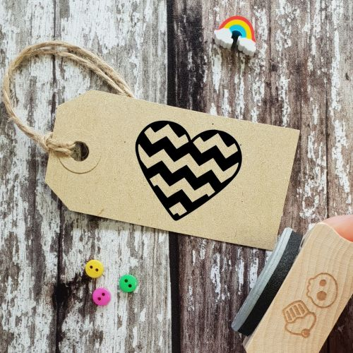 ****NEW FOR 2021**** Chevron Heart Rubber Stamp