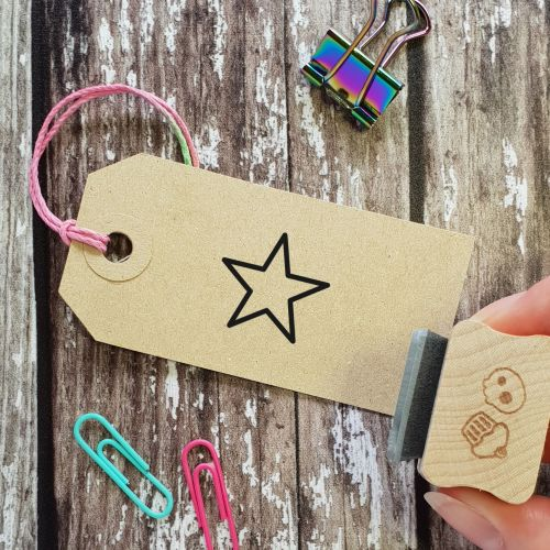 ***NEW FOR 2021*** Pointed Outline Star Rubber Stamp