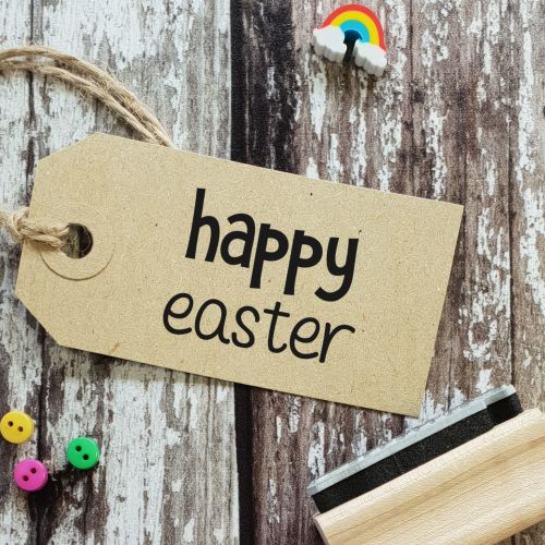 Small Happy Easter Quirky Rubber Stamp