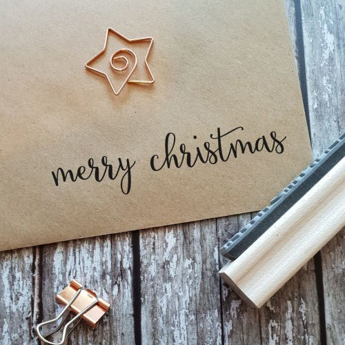 Merry Christmas Fancy Calligraphy Rubber Stamp