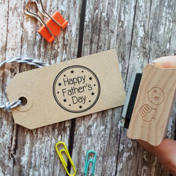 ****NEW FOR 2021**** Happy Father's Day Round Rubber Stamp