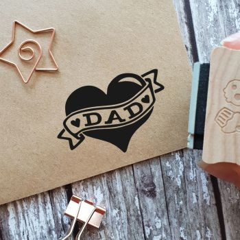 ****NEW FOR 2021**** Tattoo Heart Dad Father's Day Rubber Stamp