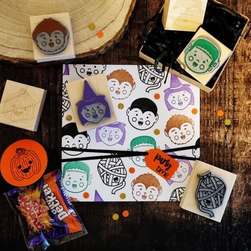 *** BY CHARLIE'S HAND Halloween Spooky Stamps MONSTER ***
