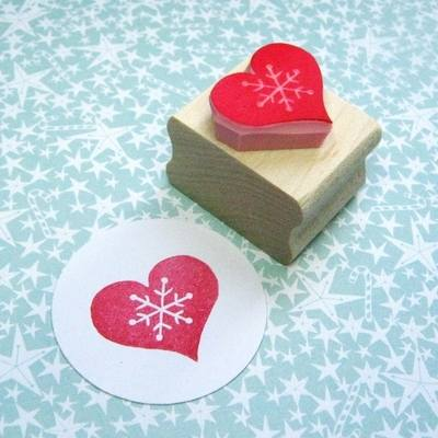 Snowflake Heart Hand Carved Rubber Stamp