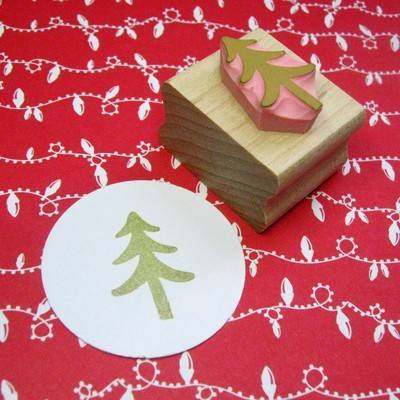 Mini Christmas Tree Hand Carved Rubber Stamp