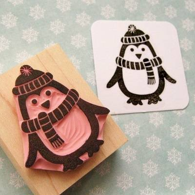 Large Penguin With Scarf Hand Carved Rubber Stamp