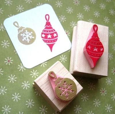 Set of Baubles Hand Carved Rubber Stamps