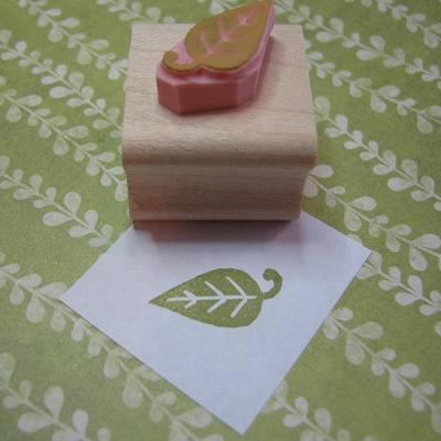 Mini Leaf Hand Carved Rubber Stamp