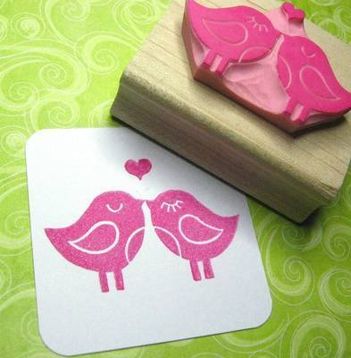 Love Birds with Heart Hand Carved Rubber Stamp