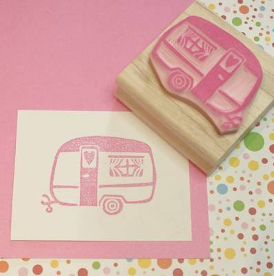 Little Caravan of Love Hand Carved Rubber Stamp