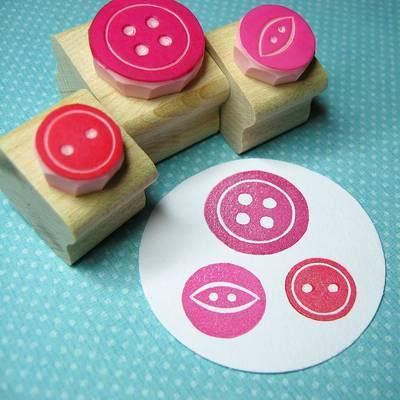 Sweet Three Button Set Hand Carved Rubber Stamps