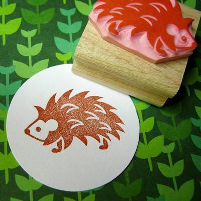 Spiky Hedgehog Hand Carved Rubber Stamp
