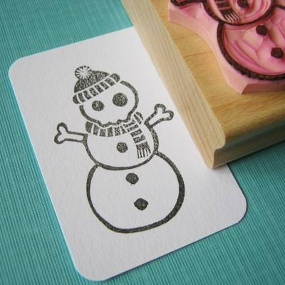 Skullie Snowman Hand Carved Rubber Stamp