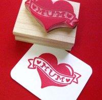 Tattoo Mum Heart Rubber Stamp